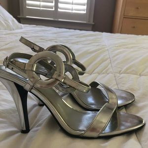 Calvin Klein Metallic Silver Party Heels